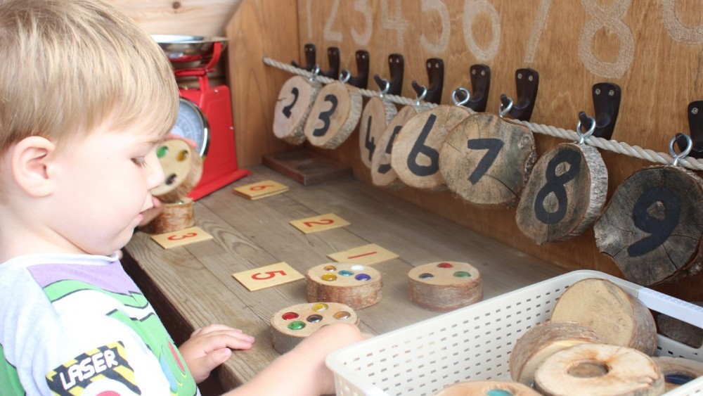 counting, glass beads, wood cookies