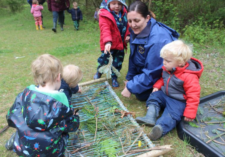 Forest School, 10 years, outdoor learning, natural weaving