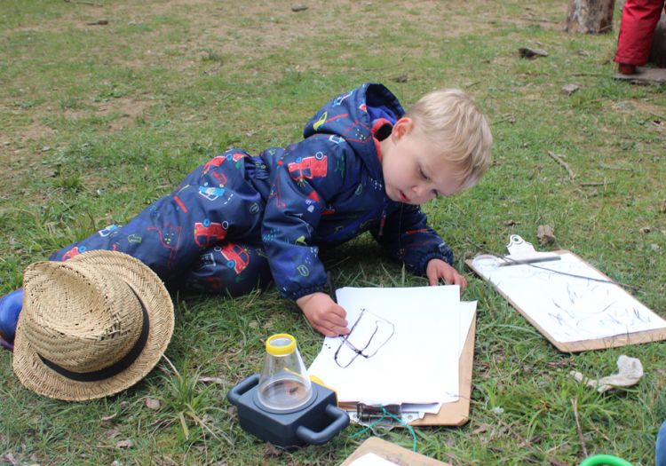 Forest School, 10 years, outdoor learning, observational drawings