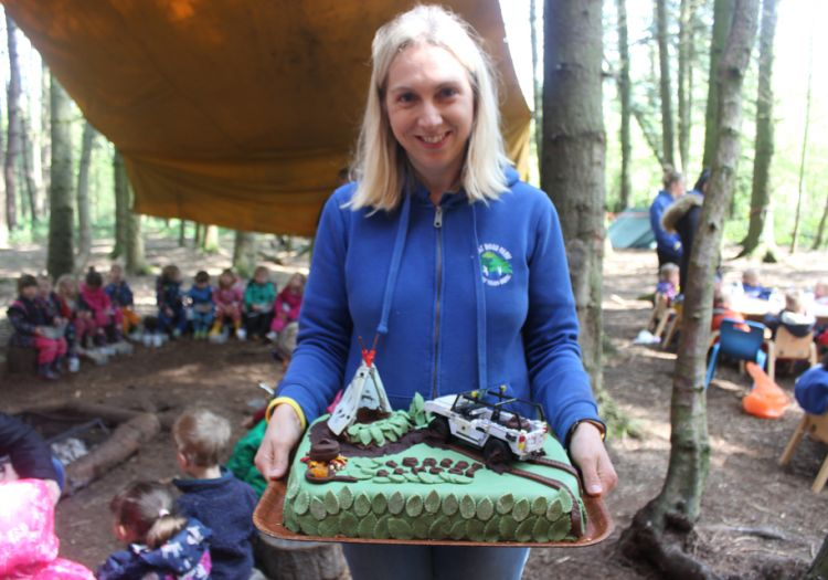 Forest School, 10 years, outdoor learning, cake