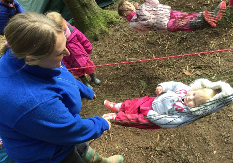 Forest School, 10 years, outdoor learning, baby, hammock