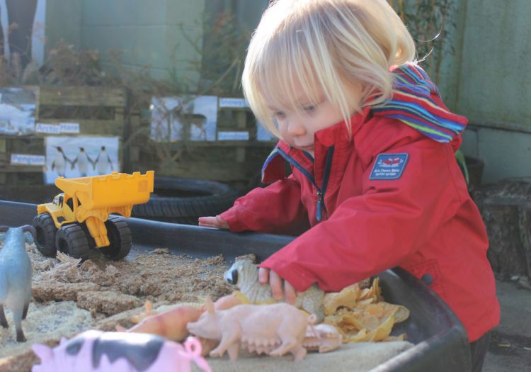 playing in tuft tray with sand and farm toys