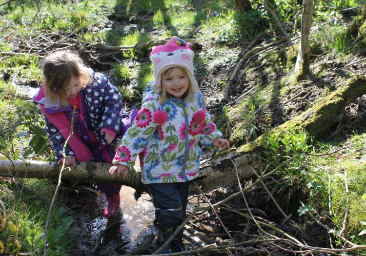 pre-school children exploring in a small stream