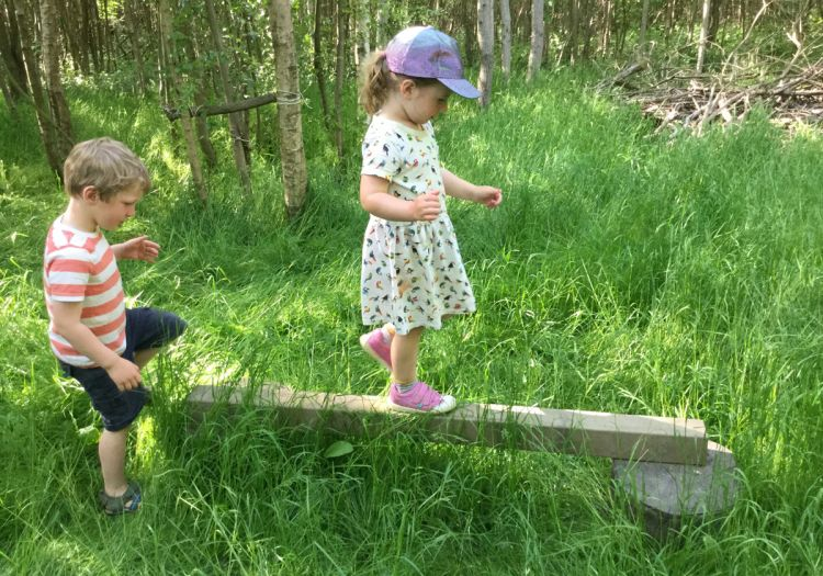 balancing on plank, Forest School
