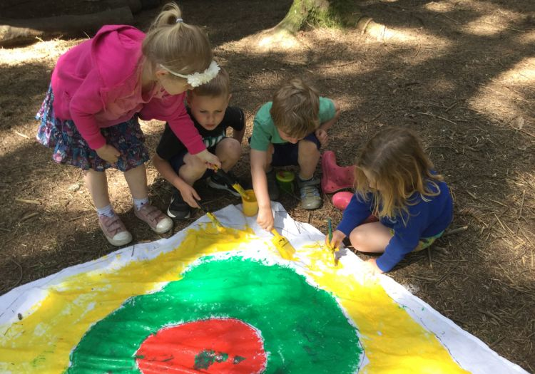 target painting, bows and arrows on Forest School